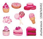 set of pink sweets. vector... | Shutterstock .eps vector #1508769452