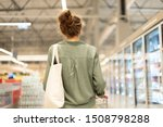 Young Woman With Shopping Card...