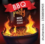 realistic fire flame bbq grill...   Shutterstock .eps vector #1508808905