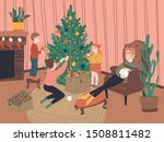 the family decorates the... | Shutterstock .eps vector #1508811482