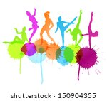 Dancers Silhouette Vector...
