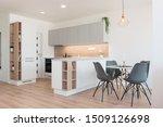 interior of modern kitchen with ...