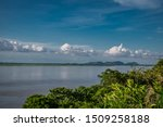 Clear blue sky view of Brahmaputra river from belle view, Guwahati, Assam India
