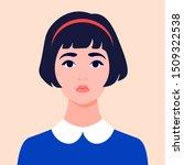 portrait of a sad girl.... | Shutterstock .eps vector #1509322538