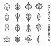 Leafs Icons For Pattern With...