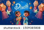 diwali children holding oil... | Shutterstock .eps vector #1509385808