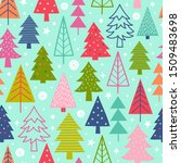 colorful christmas trees... | Shutterstock .eps vector #1509483698