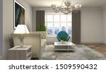 interior of the living room. 3d ... | Shutterstock . vector #1509590432