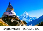 Ama Dablam mountain temple in Nepal. Ama Dablam landscape. Ama Dablam Nepal mountains. Ama Dablam peak