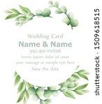 eucalyptus leaves wedding card... | Shutterstock . vector #1509618515