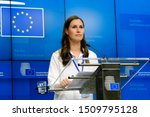 Small photo of Brussels, Belgium. 20th September 2019. Finnish Minister of Transport and Communications Sanna Marin gives a press conference on results of an European Transport Council.