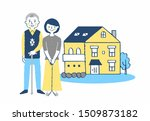 senior couple in front of home | Shutterstock . vector #1509873182