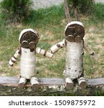 Stock photo decorative hares from tree stumps wooden hares 1509875972