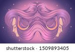 the profile of two girls with... | Shutterstock .eps vector #1509893405
