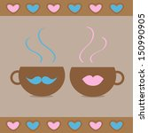 two teacups with mustache and...   Shutterstock .eps vector #150990905