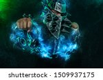 Mysterious Man In A Helmet Wit...