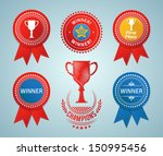 winner ribbons and badges.... | Shutterstock .eps vector #150995456