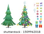 christmas set with pine tree...   Shutterstock .eps vector #1509962018