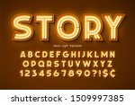 neon light 3d alphabet  extra... | Shutterstock .eps vector #1509997385