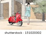 young woman and red scooter in... | Shutterstock . vector #151020302