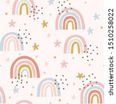 cute magical rainbow sky and... | Shutterstock .eps vector #1510258022