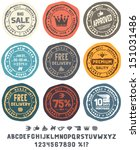 rubber stamps set with cute... | Shutterstock .eps vector #151031486