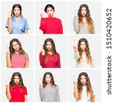 Small photo of Collage of beautiful young woman wearing different looks over white isolated background Showing middle finger, impolite and rude fuck off expression