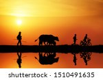 Silhouette Of Lifestyle Of...