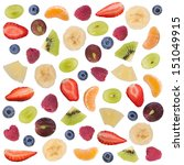cut fruit for salad isolated on ... | Shutterstock . vector #151049915