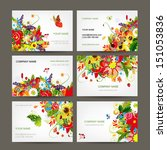 postcard collection with floral ... | Shutterstock .eps vector #151053836