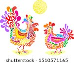 meeting the rooster with a hen. ... | Shutterstock .eps vector #1510571165