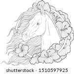 portrait of a horse in flowers. ... | Shutterstock .eps vector #1510597925