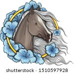 portrait of a horse in flowers. ... | Shutterstock .eps vector #1510597928