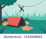 Illustration Of A Forest Camp...