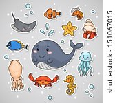 sticker with sea animals ...   Shutterstock .eps vector #151067015