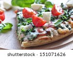 spinach pizza | Shutterstock . vector #151071626