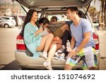 young group of people traveling ... | Shutterstock . vector #151074692
