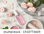 Stock photo flat lay composition with rose essential oil on marble table 1510773605