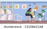 painter using paintbrush and... | Shutterstock .eps vector #1510862168