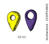 hand drawn isolated map pin.... | Shutterstock .eps vector #1510914842