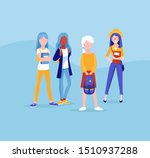 group of young girls friends ... | Shutterstock .eps vector #1510937288