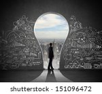 silhouette of businessman... | Shutterstock . vector #151096472