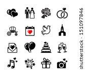 Web icons set. Wedding, bride and groom, love, celebration. | Shutterstock vector #151097846
