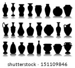 Black silhouettes of the jars and vases-vector