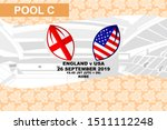 Pool C, England vs USA, Rugby match 2019, sakura pattern and stadium background Vector illustration.