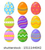 Set Of Colorful Easter Eggs On...