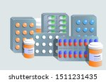 different medical pills and... | Shutterstock .eps vector #1511231435