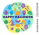 happy halloween linear icons ... | Shutterstock .eps vector #1511231618
