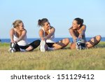 group of three women stretching ... | Shutterstock . vector #151129412