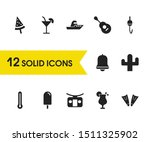 season icons set with cocktail  ...